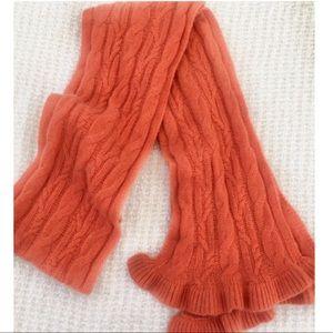 100% Cashmere Orange Cable knit Ruffle Scarf